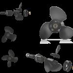 Xcomp Mercury Mariner D 40-140 HP Set + Hub Kit Kanadı Değiştirilebilir Motor Pervanesi 2