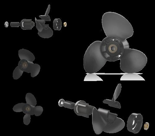 Xcomp Tohatsu D 70-140 HP Set + Hub Kit Kanadı Değiştirilebilir Motor Pervanesi 2