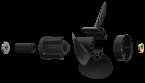 Xcomp Yamaha C 40-60 HP Set + Hub Kit Kanadı Değiştirilebilir Motor Pervanesi 3