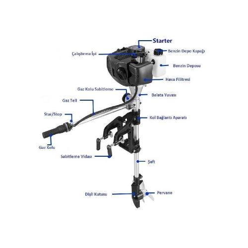 Tomking 3.5 Hp 2 Zamanlı Kısa Şaft Motor – TKC148E – 2